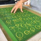Screen for screen printing of repeat bicycle print used for musette bags