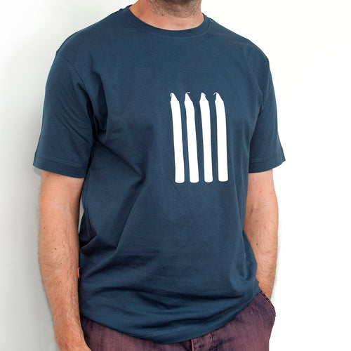 Men's Four Candles/Fork Handles t-shirt in denim blue. The original design since 2009, 100% quality cotton, screen printed, comedy gift for dad or grandad