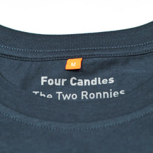 Inside back neck print on denim blue four candles t-shirt, Four Candles, The Two Ronnies