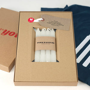 Four Candles Two Ronnies inspired gift set for dad, grandad or uncle. Gift box with four white candles and gift t-shirt hidden underneath