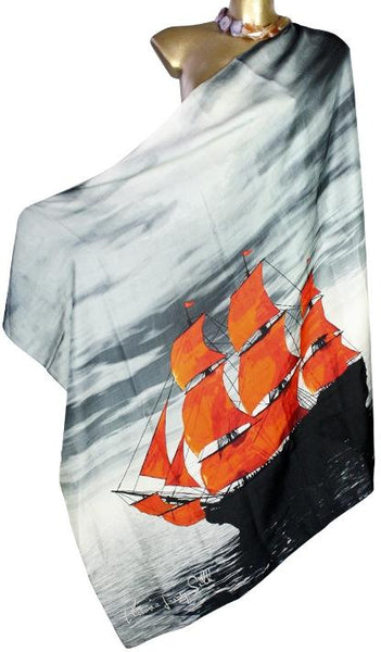 Red sailboat silk scarf