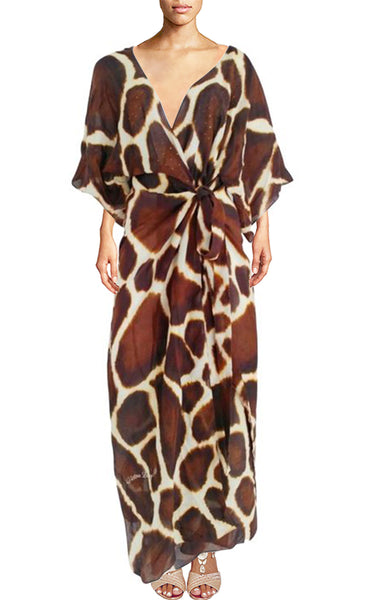 wrap Maxi Dress giraffe print fur. Petite giraffe