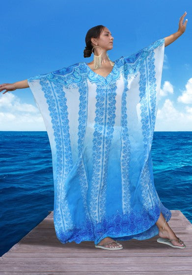 Blue Kaftan Sparkling Flowers. French Lady - Victoria Luxury Silk