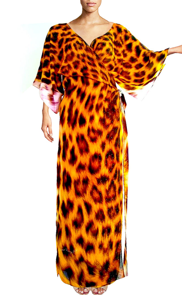 Wrap Maxi Dress leopard print fur. Petite Afric