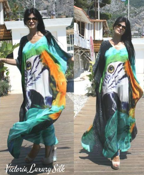 SOLD OUT Pre-Order 3 Weeks. Kaftan exotic in silk richly colored plumage. Hawaii