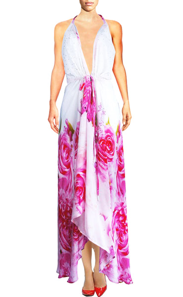 Dress in silk with pink Roses. Je t'aime a la Folie