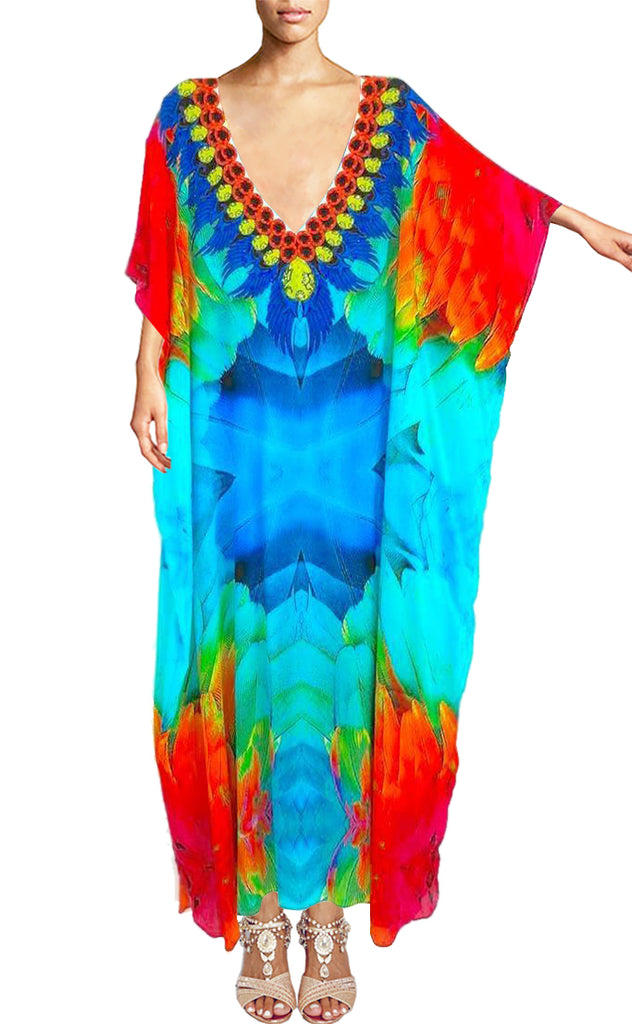 Silk Kaftan. Paris flowers. - Victoria Luxury Silk Embellished Kaftan Dress Tunic Cardigan Maxi Dress