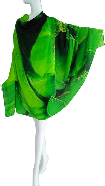 Scarf green  silk  Scarf.Paris in love