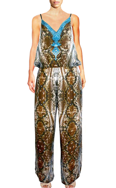SOLD OUT Pre-Order 3 Weeks. Jumpsuit python skin and bird feather