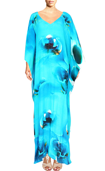 Floral V-Neckline Long Kaftan Dress. Orchidée.