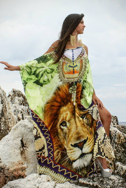 Lion Dress Jade in Silk. King