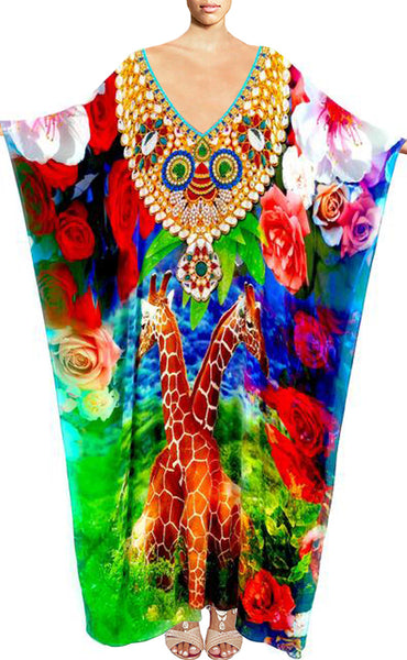 Kaftan in silk Giraffe surrounded by roses. Giraffe
