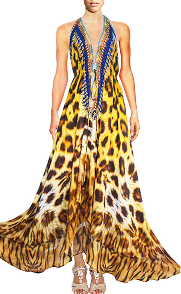 SOLD OUT Pre-Order 3 Weeks. Halter dress Leopard print. Jolie Africaine