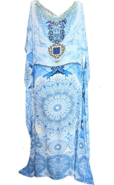 Kaftan Dress Budding Blue Iris Flowers. crazy charm