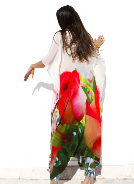 SOLD OUT Pre-Order 3 Weeks. Floral-Print Caftan Maxi Dress. Je T'aime