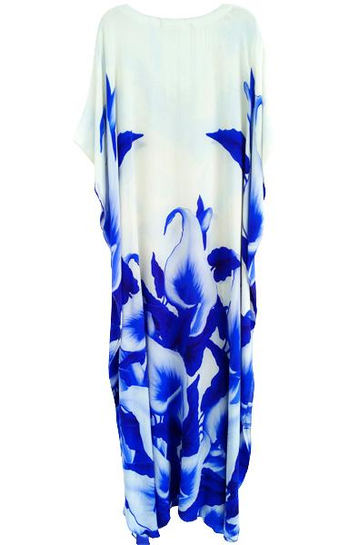 Kaftan Dress Budding Blue Iris Flowers. La Parisienne