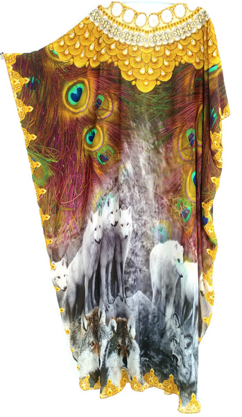 Kaftan in silk modal. wolves