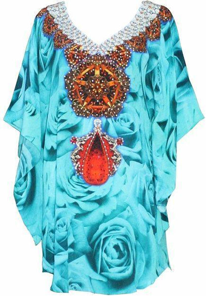 French Kiss Turquoise. Stunning silk tunic rose buds ruby necklace.