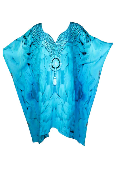 Blue Tunic refined by artistic patterns.  Monte Carlo - Victoria Luxury Silk Kaftan Dress Tunic