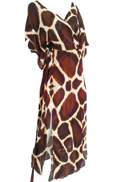 SOLD OUT Pre-Order 3 Weeks. wrap Maxi Dress giraffe print fur. Petite giraffe