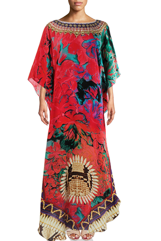 SOLD OUT Pre-Order 3 Weeks. Noble red silk Kaftan wild flowers python skin. Fleurs Sauvage