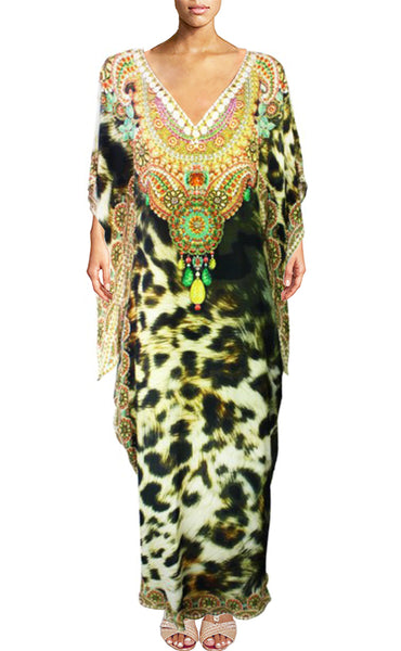 Leopard Dress in silk. Belle Africaine