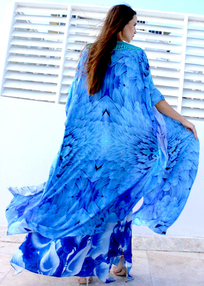 Cardigan Blue feathers. Angel