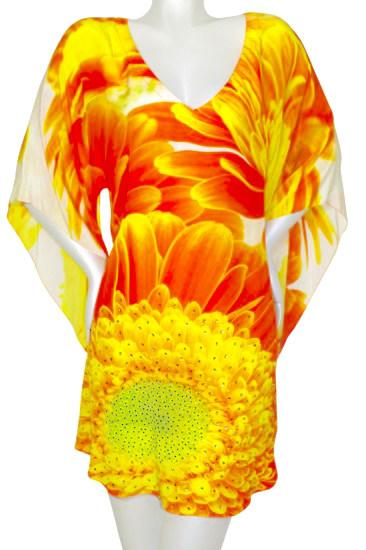 Top tunic bright amber marguerites. Marguerite