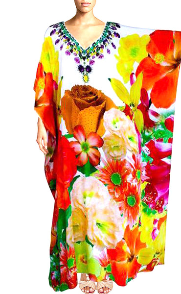 Floral Print Kaftan Dress. French Bouquet