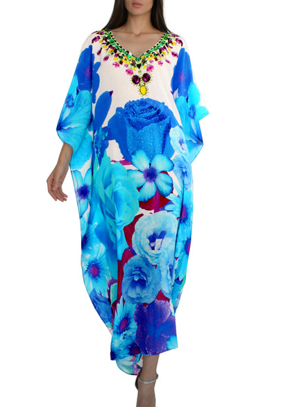 Long blue floral printed kaftan in silk. French Bouquet