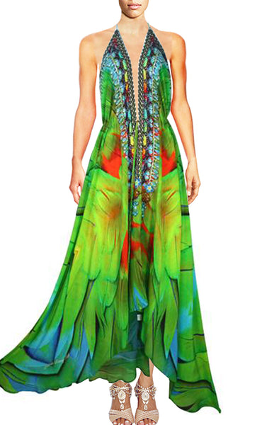 Halter dress green feather in silk. Emeraude Bird