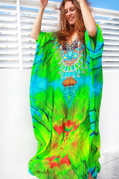 Bright Dress with Beautiful and Fierce Python Skin. Queen Python. - Victoria Luxury Silk Kaftan Dress Tunic
