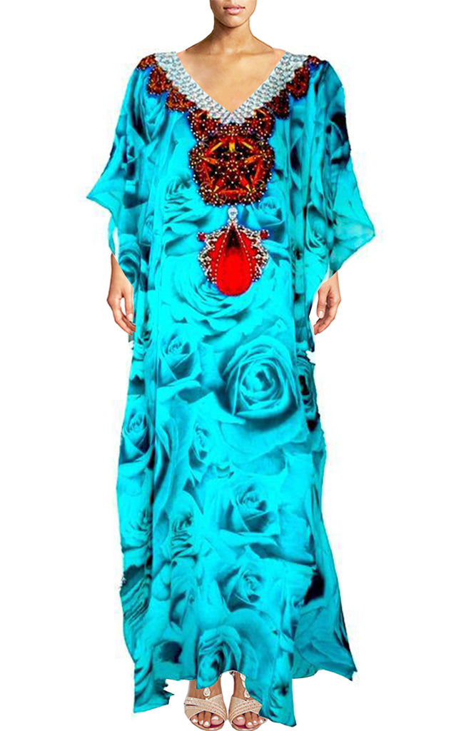 Kaftan dress rose buds. French Kiss Turquoise.