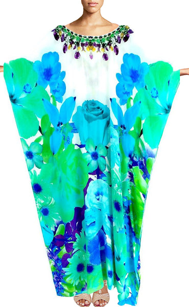 Caftan in silk radiant petals and blue Roses.French Bouquet.