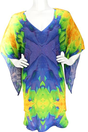 Blouse exotic Feathers silk tunic. Exotic feather
