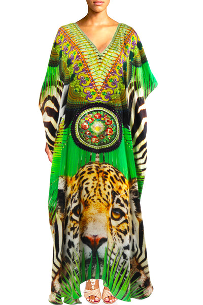 Caftan leopard in silk. Miami
