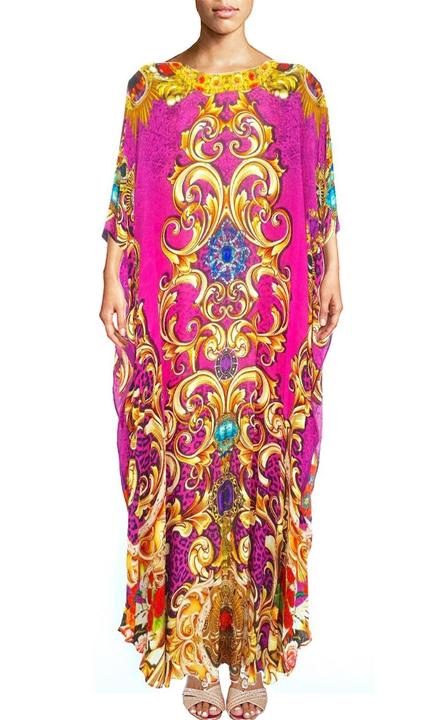 SOLD OUT Pre-Order 3 Weeks. Kaftan in silk gold and pink. Royalty Gold