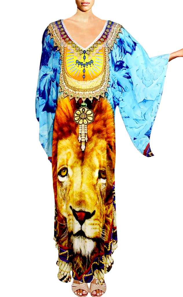 SOLD OUT Pre-Order 3 Weeks. Dress lion silk Kaftan crowned with royal jewels. King