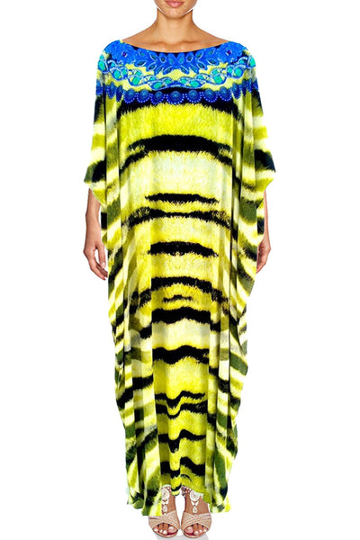 kaftan dress in silk Tiger fur . Safari