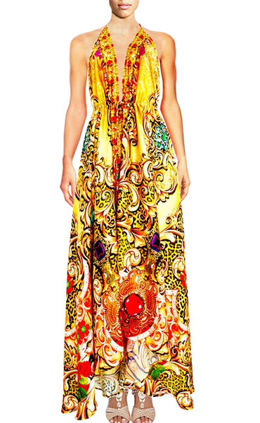 SOLD OUT Pre-Order 3 Weeks. Halter dress in Satin embellished. Royalty gold