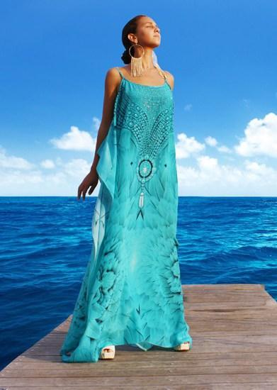 Gallery.  Angel turquoise Kaftan dress