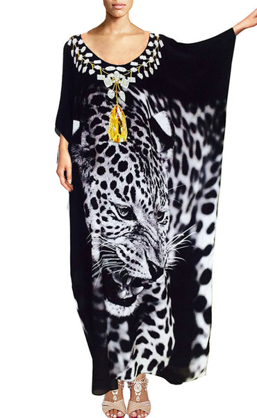 SOLD OUT Pre-Order 3 Weeks. Kaftan black leopard. Black Panthera