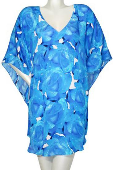 Tunic blue roses. Rose bleu