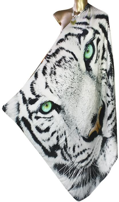 SOLD OUT Pre-Order 3 Weeks. Twill Silk Scarf. Snow Tiger