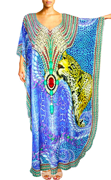 Kaftan dress snake skin leopard fur ruby jewel.Bahamas