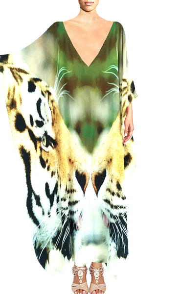 SOLD OUT Pre-Order 3 Weeks. Kaftan in silk Charmeuse. Imperial Tigers