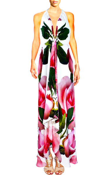 SOLD OUT Pre-Order 3 Weeks. Dress in silk. Roses D'amour