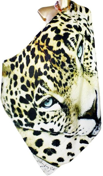 sublime silk scarf  aquamarine eyes. Jaguar
