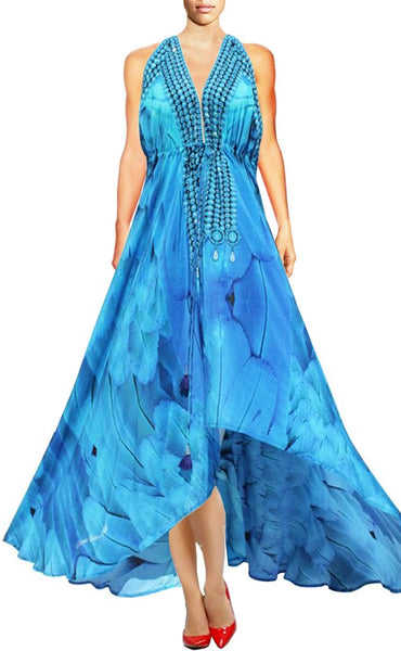 SOLD OUT Pre-Order 3 Weeks. Dress in silk with majestic plumage. Angel