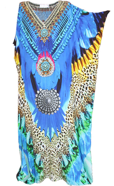 Kaftan dress in silk amazing feather and leopard print.  Cote D'azure